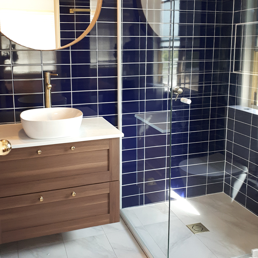 Blue & Brass Bathroom Style Gold Coast