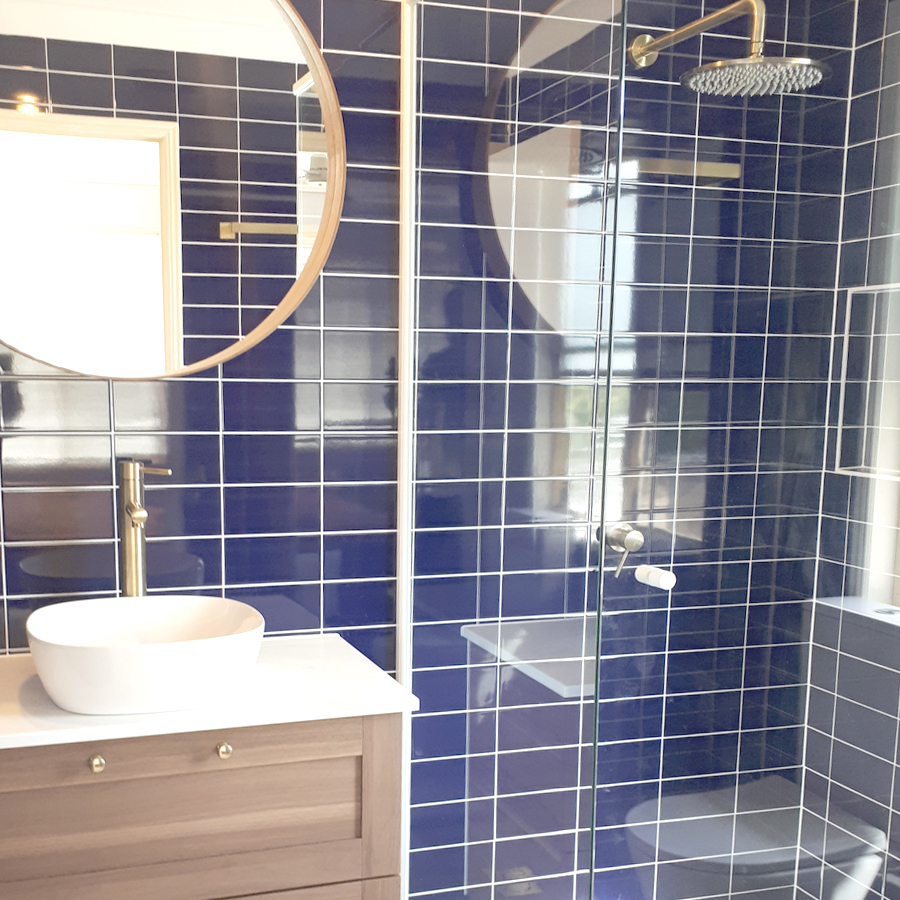 Blue and Brass Bathroom Gold Coast