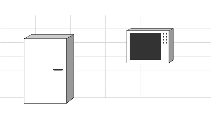 Fridge and Microwave with grid