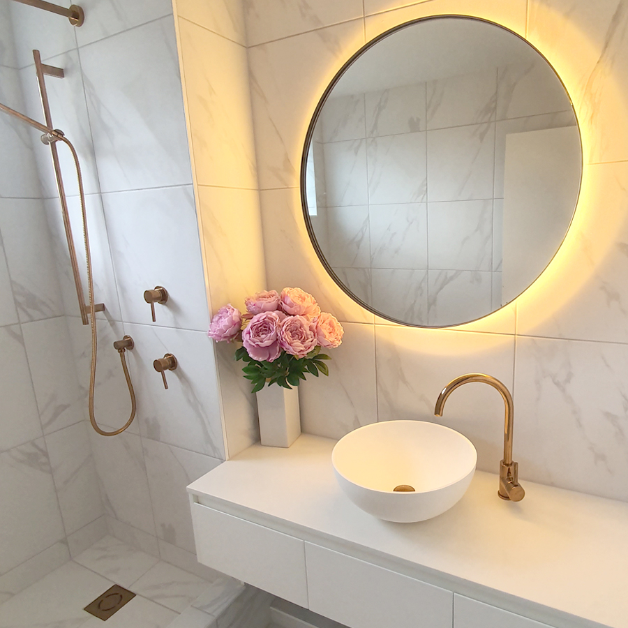 Brass Tapware with White Basin