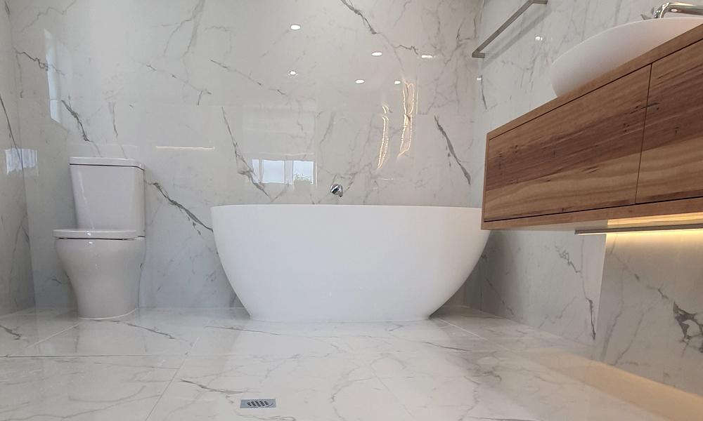 Cistern, Bathtub, and Timber-Look Custom Vanity