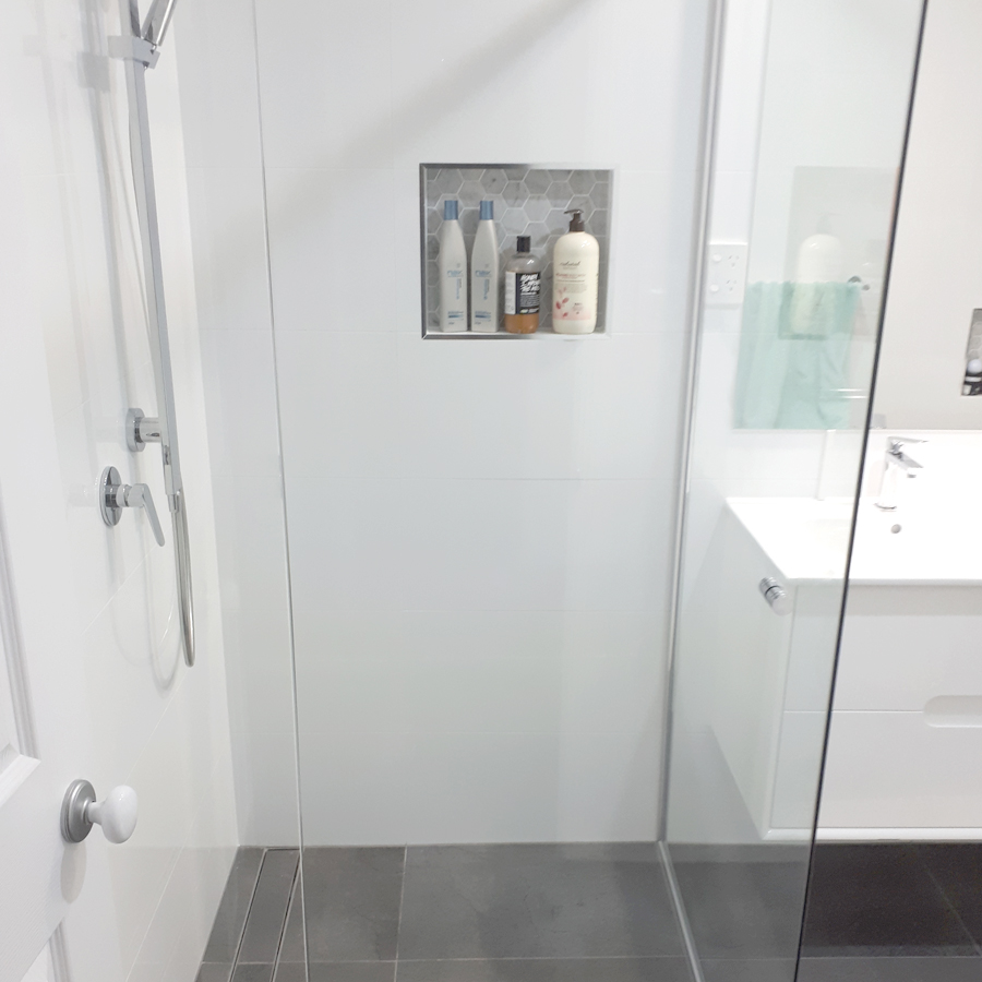 Shower with Hexagonal Tiled Niche