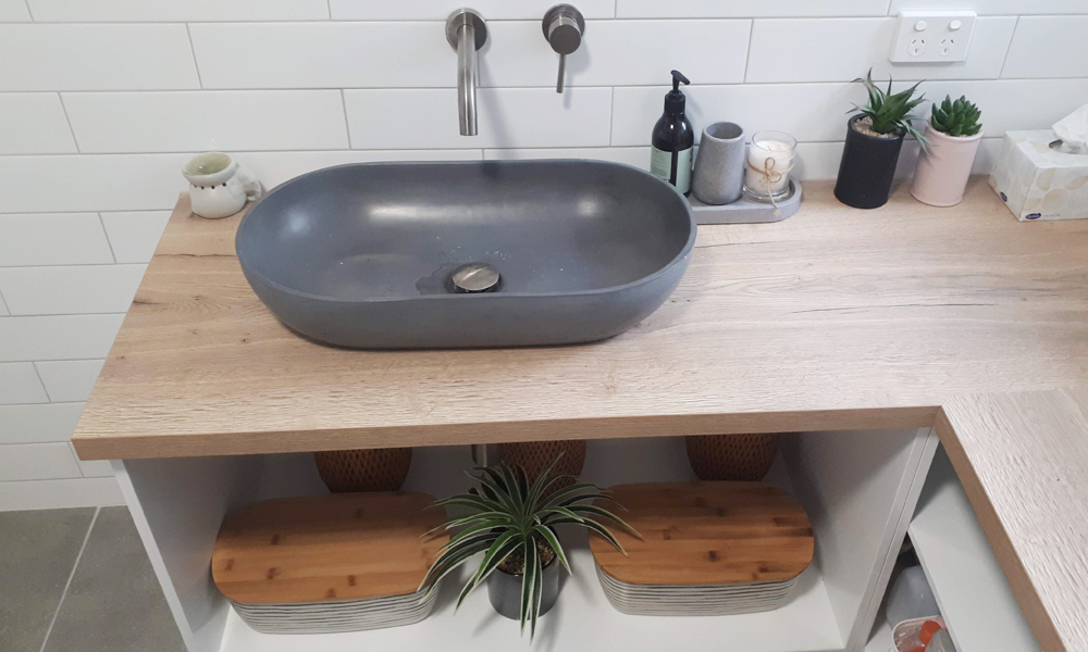 Mounted Circular Basin Timber Laminate Vanity