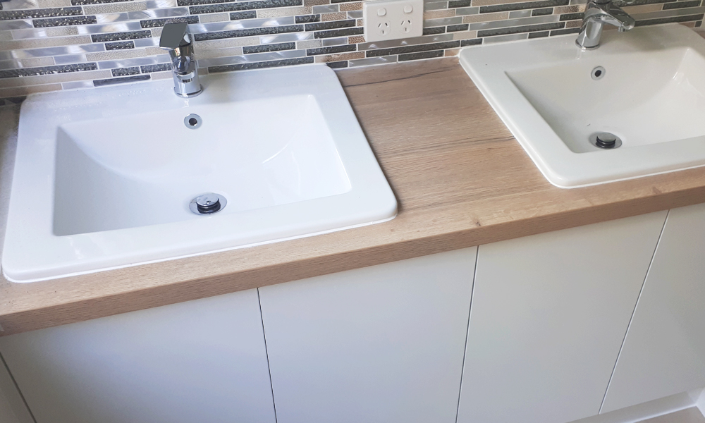 Timber-Look Laminate Double Basin Benchtop